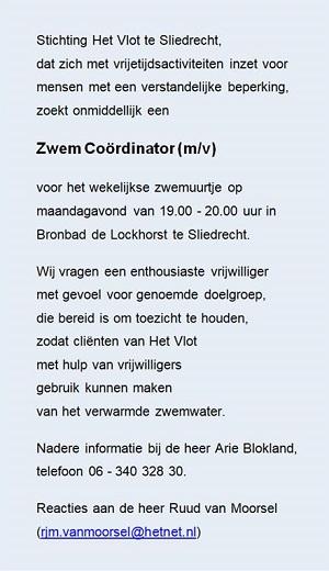 Stichting Het Vlot vacature vrijwilliger Zwem Coördinator