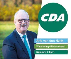 CDA Arie van den Herik Waterschap Rivierenland nummer 5 lijst 1