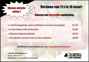 Ambachtelijke Slagerij Bart Adriaanse reclame 11 t/m 16 maart 2019